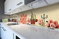 Кухонный фартук самоклеющийся Розовые Розы (скинали для кухни наклейка ПВХ) коллаж бежевый 600*2500 мм