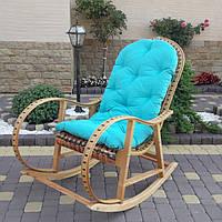 Плетеная кресло-качалка из лозы +ротанг в комплекте из подушкою, фото 1
