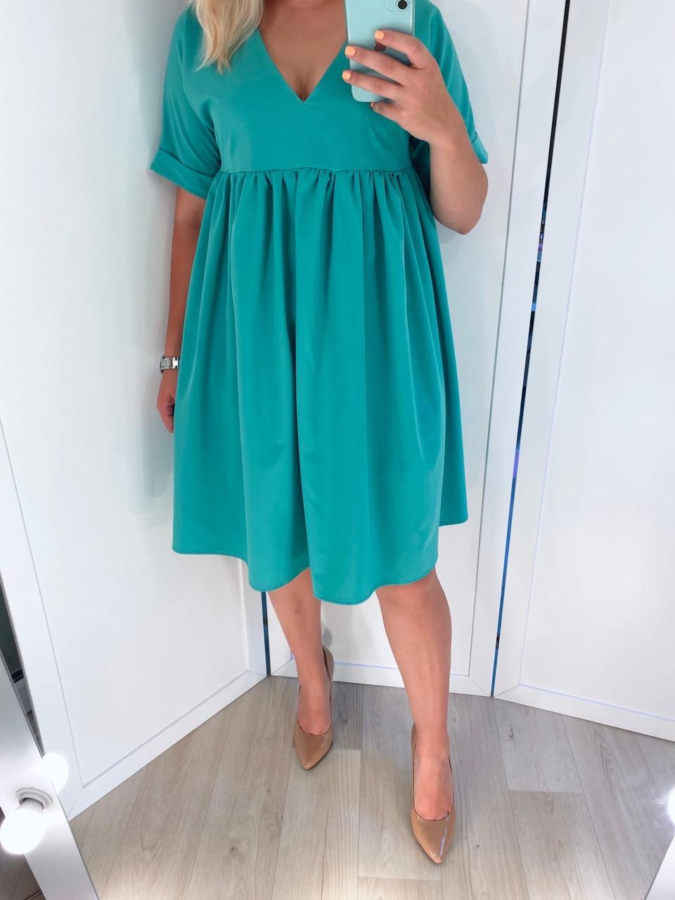 Платье женское свободное (голубой, чёрный, ментол)