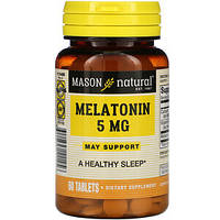 Мелатонин, Melatonin Mason Natural,  5 mg, 60 Tablets, фото 1