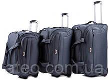 Набір дорожніх сумок на колесах 3в1 Wings Сірий