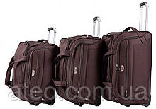 Набір дорожніх сумок на колесах 3в1 Wings Кавовий