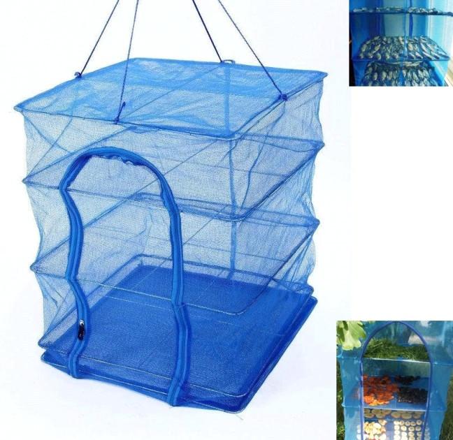 Сетка для сушки рыбы грибов овощей и фруктов сушилка на воздухе 45х45х65 см Синий