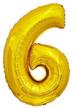 Шарики надувные фольгированные MK 2723-1 цифра 6, 18 дюймов, золото
