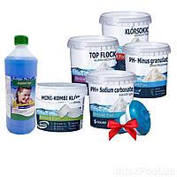 Химия для бассейна«Аква Набор MINI 8в1» IntexPool 80521, для бассейнов до 366 (pH-, pH+, MINI хлор, поплавок, альгекс топ, шок хлор, флок,