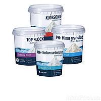 Химия для бассейна «Аква Аптечка MINI 5в1» IntexPool 80511, для бассейнов до 366 (pH+, pH-, шок хлор, флокулянт), (Оригинал)