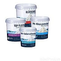 Химия для бассейна «Аква Аптечка 5в1» IntexPool 80512, для бассейнов от 457 (pH+, pH-, шок хлор, флокулянт), (Оригинал)