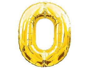 Шарики надувные фольгированные MK 2723-1 цифра 0, 18 дюймов, золото