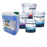 Химия для бассейна«Аква Набор 6в1» IntexPool 80520, для бассейнов от 457 (pH+, pH-, альгекс топ, шок хлор, флокулянт), (Оригинал)