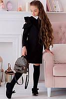Стильное школьное платье на девочку черное, фото 1