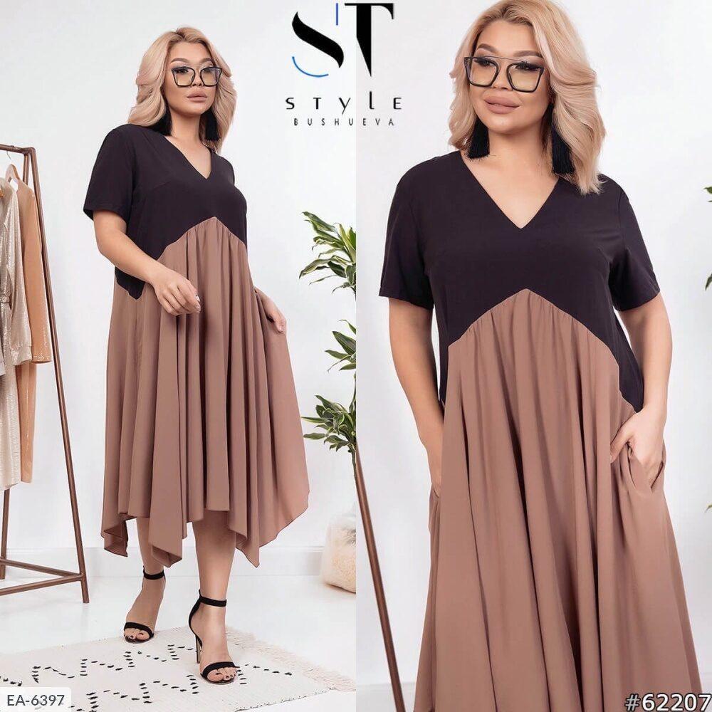 Стильное платье   (размеры 48-58) 0251-00