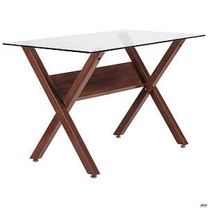 Обеденный стол АМФ Maple стеклянный х-образные ножки темный орех для кухни