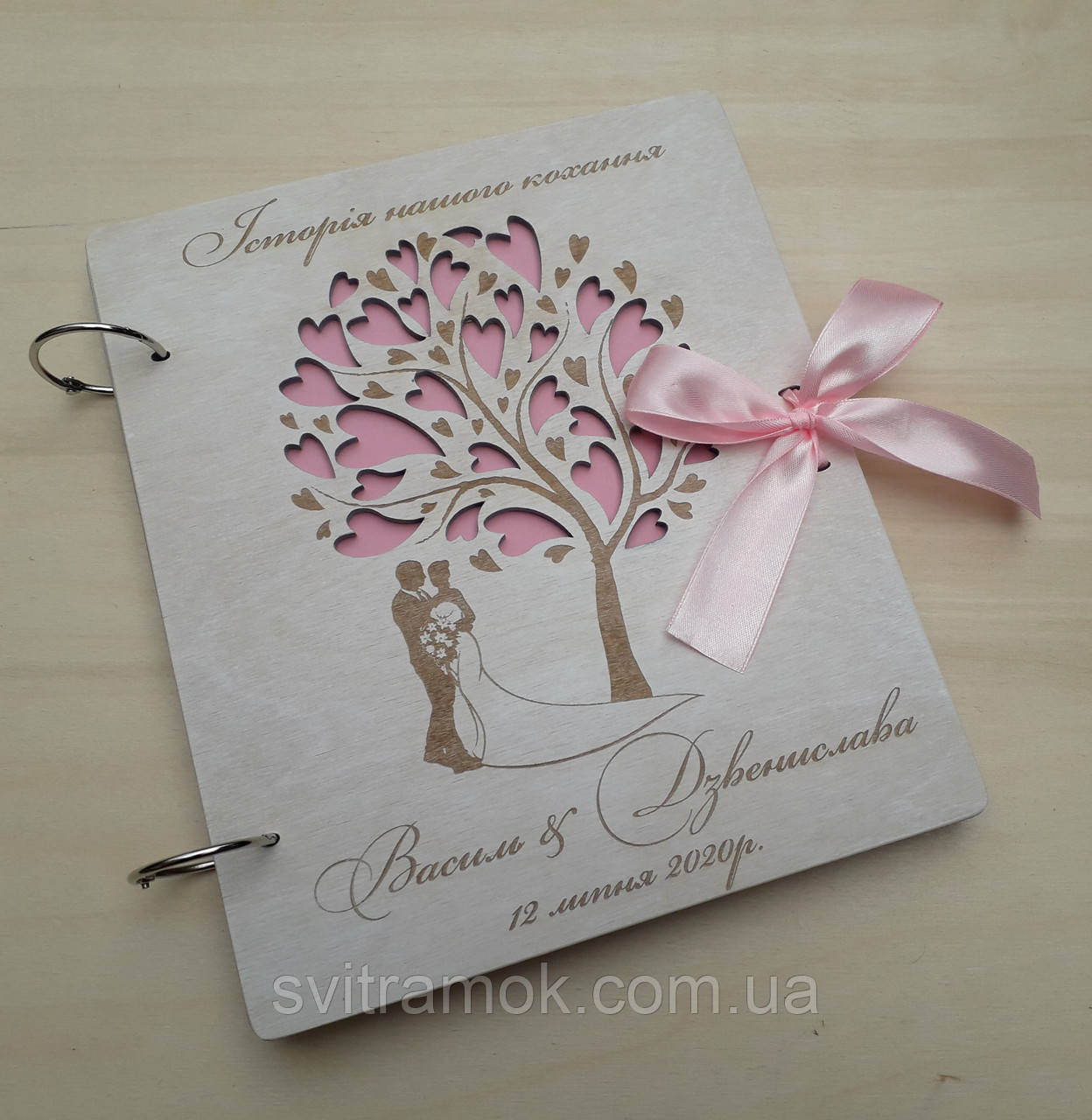 Весільна книга для побажань та фото з дерева