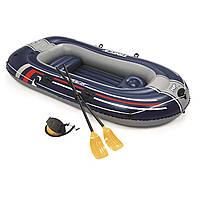 Двухместная надувная лодка Bestway 61068 Hydro - Force Raft, синяя, 255 х 127 см, с веслами и насосом, (Оригинал)