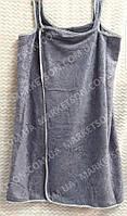 Полотенце халат для сауны на кнопках для женщин 140х80 Микрофибра