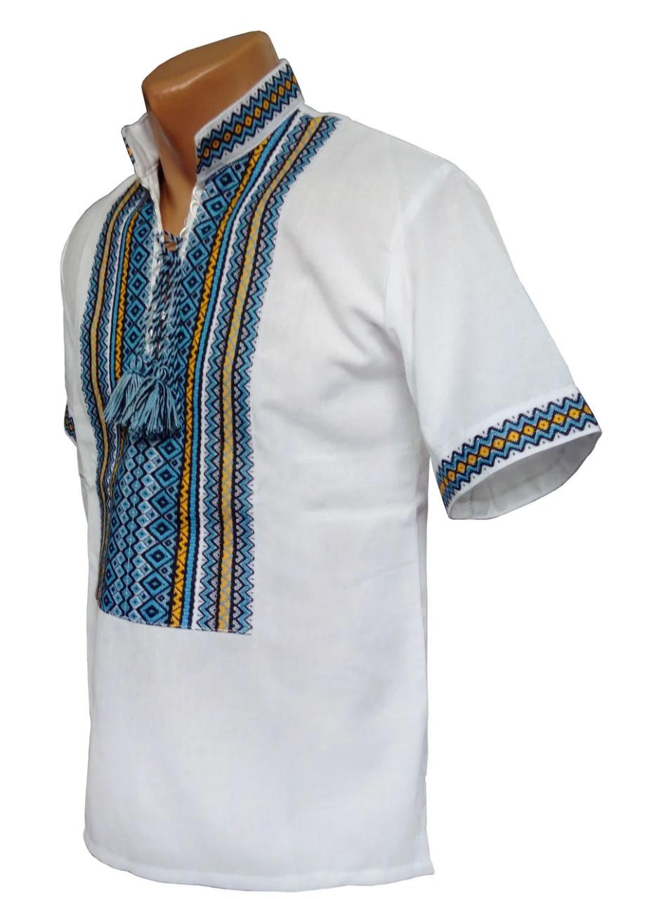 Сорочка Вишиванка для хлопчиків з домотканого бавовни р. 92 - 176