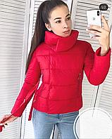 Весенняя осенняя красная женская дутая куртка