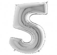 Шарики надувные фольгированные MK 2723-1 цифра 5, 18 дюймов, серебро