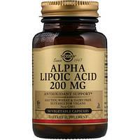 Альфа-липоевая кислота, Alpha Lipoic Acid Solgar, 200 мг, 50 капсул, фото 1