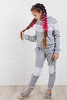 Утепленный костюм для девочки серый с белым, фото 1