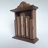 Ключница деревянная 31*22*8, 6 крючков, настенная, настольная, фото 4