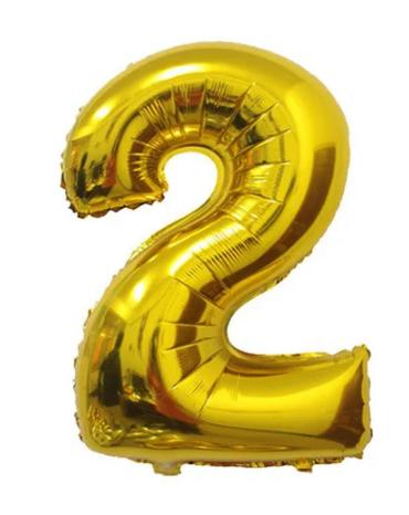 Шарики надувные фольгированные MK 2723-1 цифра 2, 18 дюймов, золото