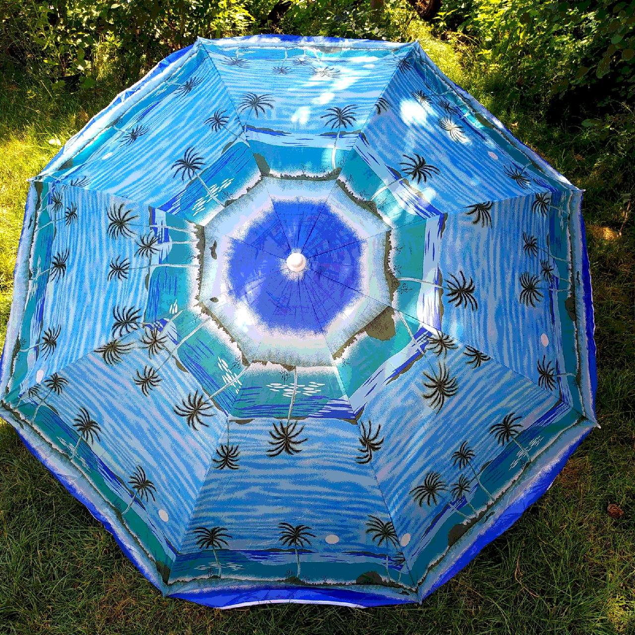 Пляжний зонт блакитний з пальмами 2 метри колір 3а