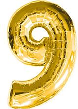 Кульки надувні фольговані MK 2723-1 цифра 9, 18 дюймів, золото