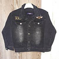 Детская джинсоваякурткадля мальчика с карманами 3-7 лет, черного цвета