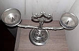 Оловянный винтажный канделябр на две свечи, Европа, фото 4