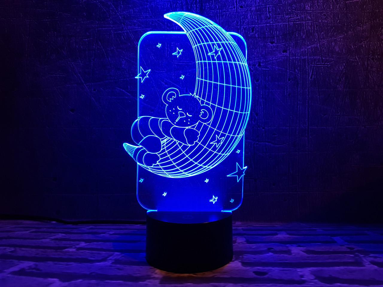 "Детский ночник ""Мишка на луне"" 3DTOYSLAMP"