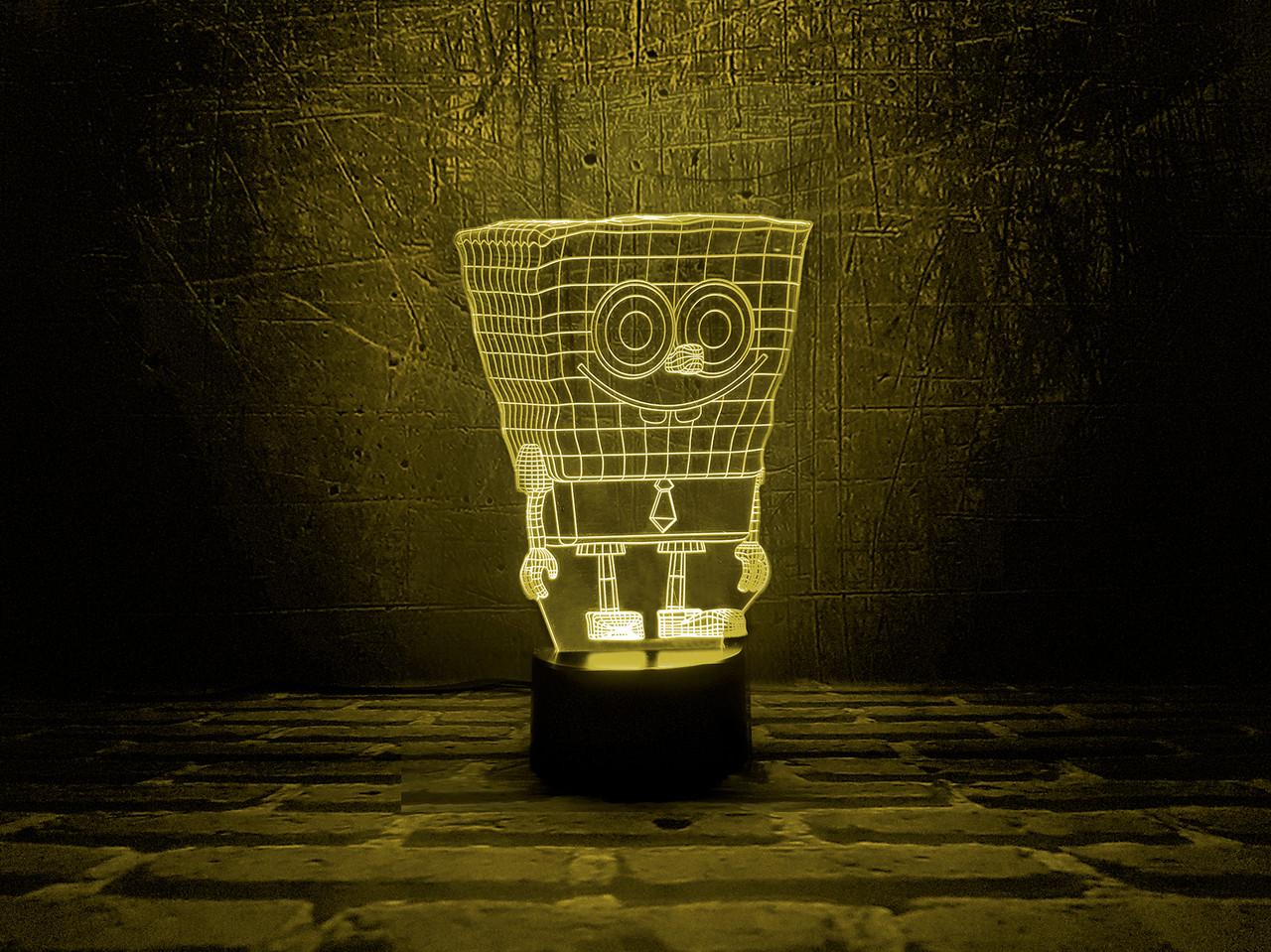"""Сменная пластина для 3D светильников """"Спанч Боб"""" 3DTOYSLAMP"""