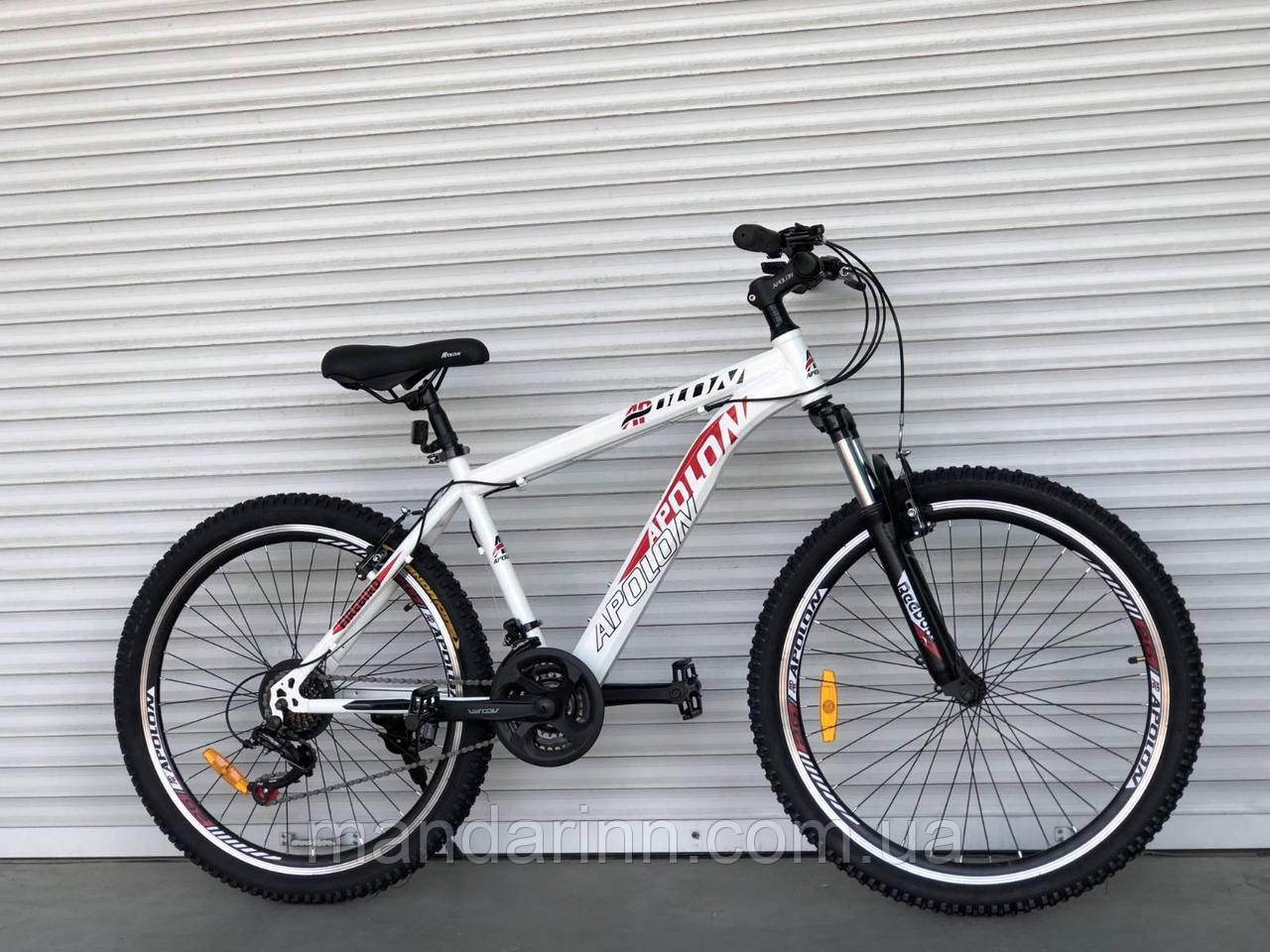 Спортивний велосипед TopRider-915 26 дюймів. Дискові гальма. Біло-червоний.
