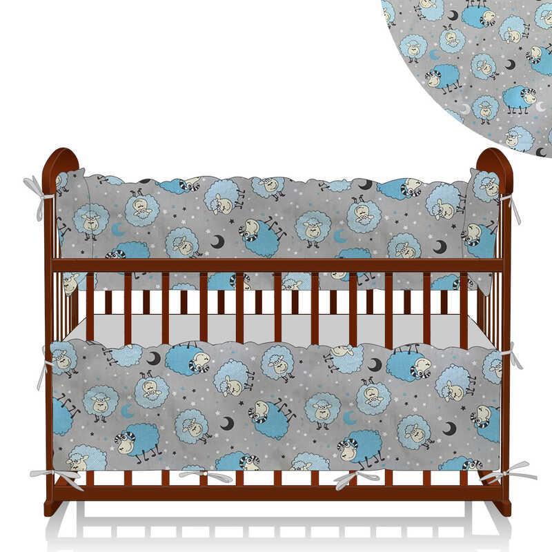"Гр Защита в кроватку ""Овечки и звезды"" ЗД-4 32931 - цвет серый, голубой ТМ Беби-Текс"