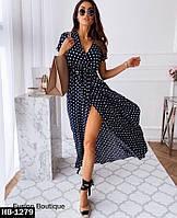 Стильное женское длинное платье в горошек, фото 1