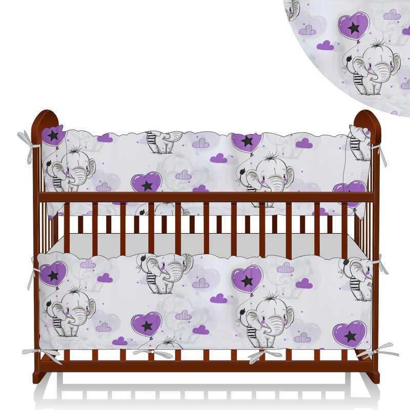 """Гр Защита в кроватку """"Слоник и шарик"""" ЗД-4 33235 - цвет белый, фиолетовый ТМ Беби-Текс"""
