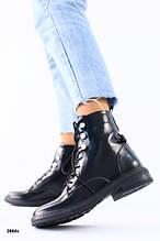 Зимние черные ботинки на шнуровке наплак 38