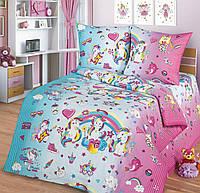 Ткань для детского постельного белья, поплин Единороги Music