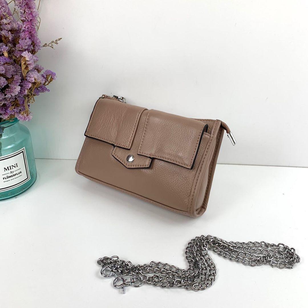 Небольшой сумка клатч на цепочке / натуральная кожа (201) Розовый