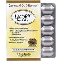 Пробиотики, LactoBif Probiotic California Gold Nutrition, 5 млрд КОЕ, 10 растительных капсул, фото 1