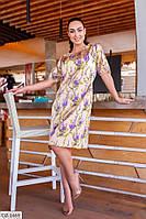Прямое шелковое платье с цветочным принтом Размер: 50, 52, 54, 56 арт 5186/1