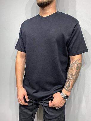 Мужская базовая футболка оversize черного цвета, фото 2