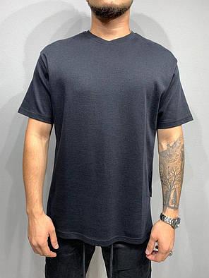 Чоловіча базова футболка оversize чорного кольору, фото 2
