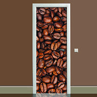 Виниловая наклейка на дверь Кофе (полноцветная фотопечать пленка для двери) ламинированная двойная 650*2000 мм