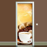 Виниловая наклейка на дверь Кофе 02 (полноцветная фотопечать пленка для двери) ламинированная двойная 650*2000 мм