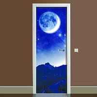 Виниловая наклейка на дверь Космос (полноцветная фотопечать пленка для двери) ламинированная двойная 650*2000