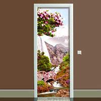 Виниловая наклейка на дверь Япония (полноцветная фотопечать пленка для двери) ламинированная двойная 650*2000 мм
