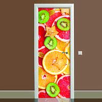 Виниловая наклейка на дверь Цитрус (полноцветная фотопечать пленка для двери) ламинированная двойная 650*2000 мм