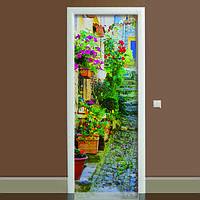 Виниловая наклейка на дверь Прованс (полноцветная фотопечать пленка для двери) ламинированная двойная 650*2000 мм