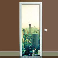 Виниловая наклейка на дверь Город (полноцветная фотопечать пленка для двери) ламинированная двойная 650*2000 мм